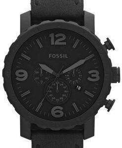 Fossil Nate Chronograph Black Ion-plated Leather JR1354 Mens Watch