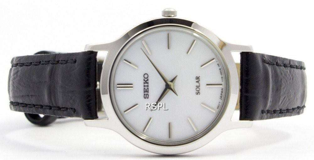 a03768821 Seiko Solar White Dial Leather Strap SUP299P1 SUP299P Womens Watch ...