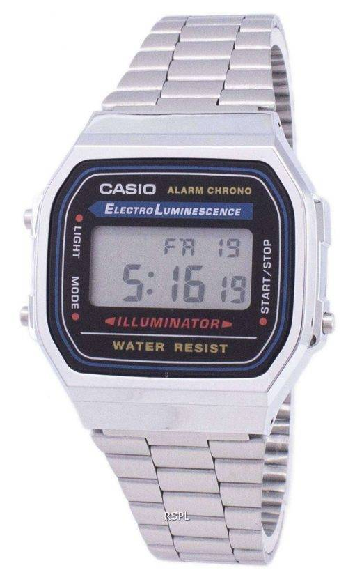 Casio Digital Alarm Chrono Stainless Steel A168WA-1WDF A168WA-1W Unisex Watch