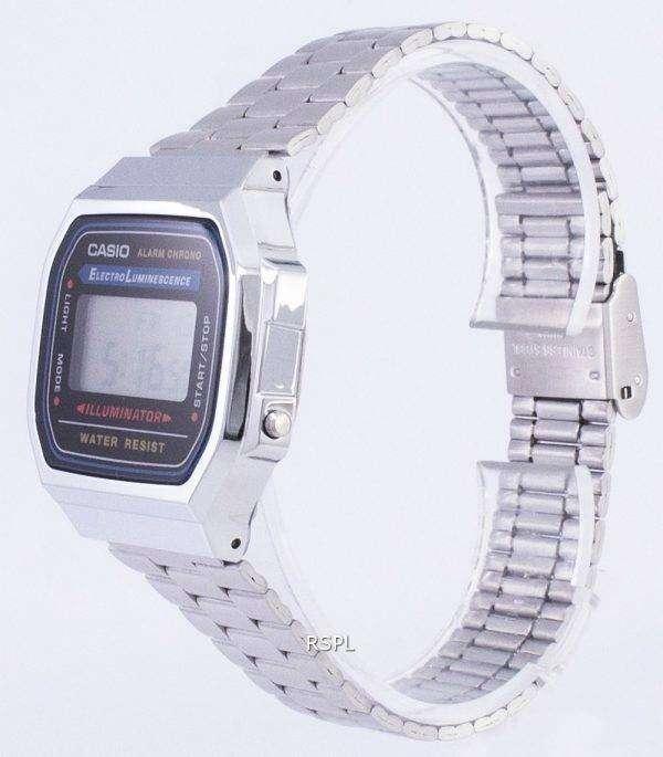 Casio Digital Alarm Chrono Stainless Steel A168WA-1WDF A168WA-1W Unisex Watch