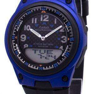 Casio Analog Digital  Illuminator Telememo BlackBlue AW-80-2BVDF AW-80-2BV Mens Watch