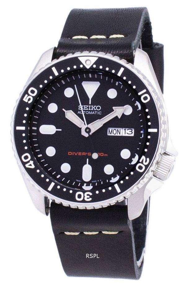 Seiko Automatic SKX007K1-LS14 Diver's 200M Black Leather Strap Men's Watch 1