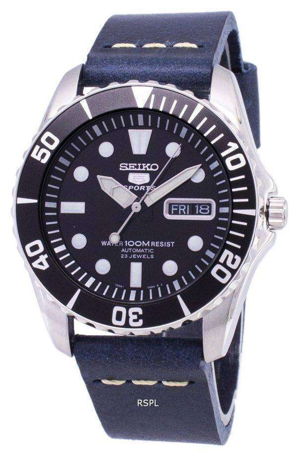 Seiko 5 Sports SNZF17K1-LS15 Automatic Dark Blue Leather Strap Men's Watch 1