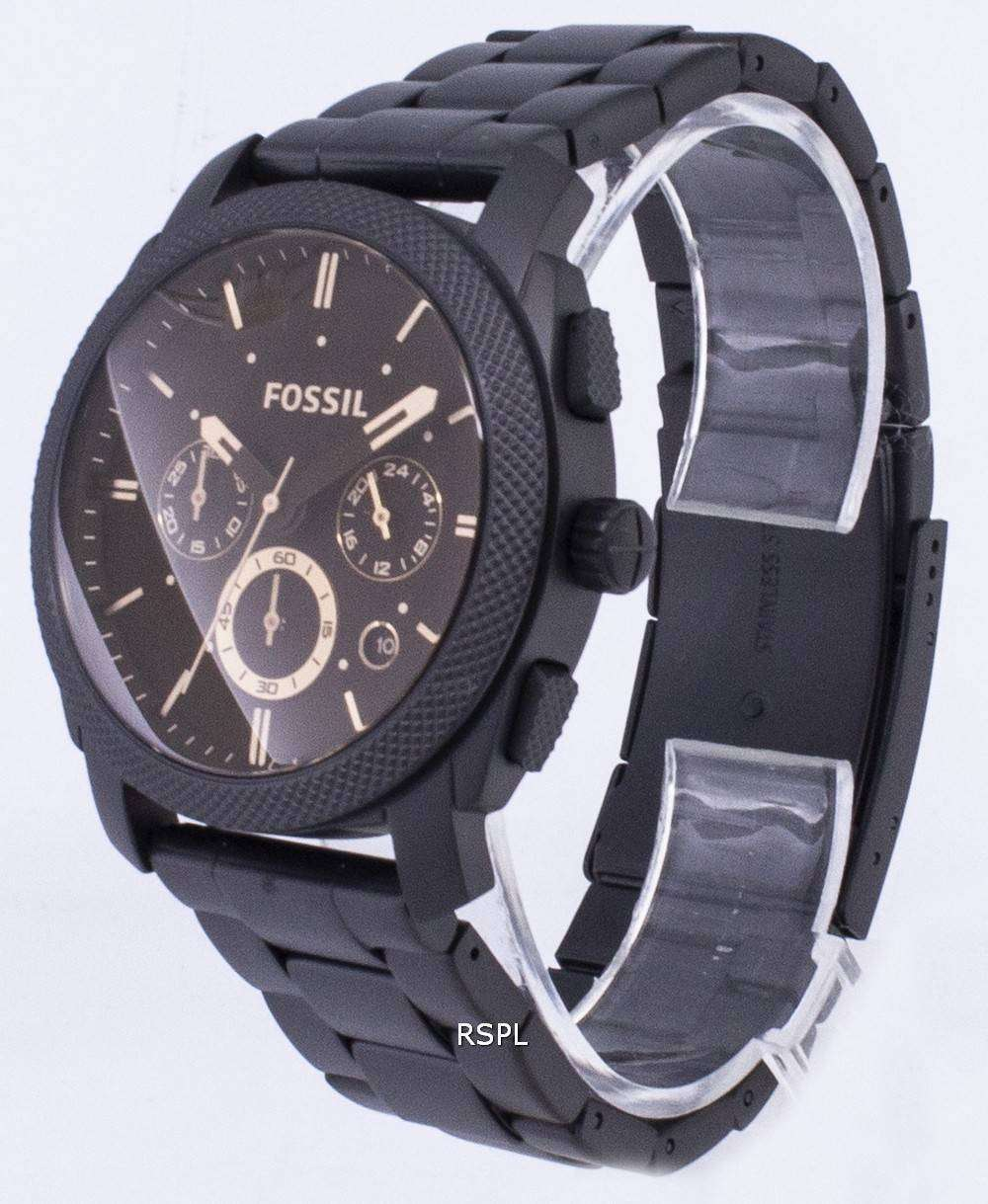 c10a76da705 Fossil Machine Mid-Size Chronograph Black IP Stainless Steel FS4682 Mens  Watch